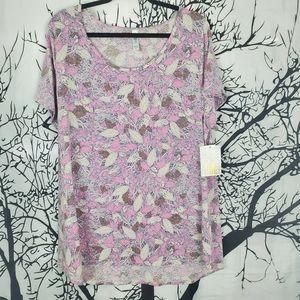 LuLaRoe Classic T Top Pink & Cream Leaf Print 3XL
